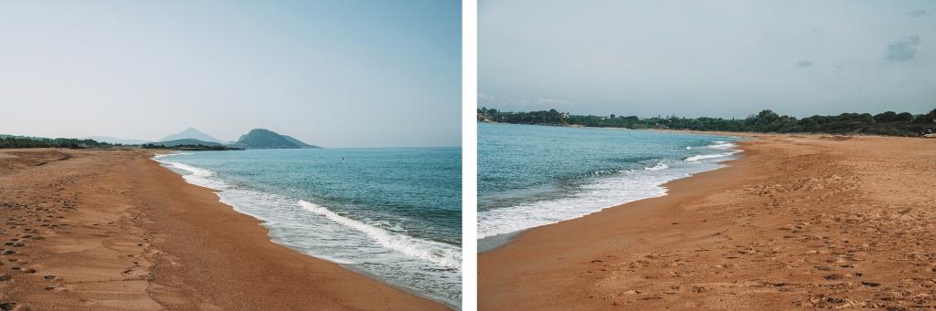 La plage déserte de Costa Navarino le matin
